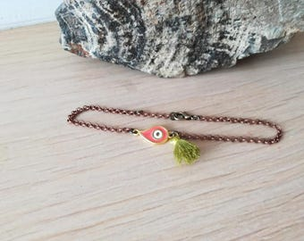 Coral eye anklet, coral red eye anklet, brass eye, copper chain and green tassel anklet, gold plated eye charm anklet, copper chain anklet
