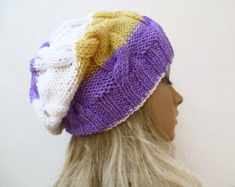 Cable Slouchy Beanie Hat - Hand Knitted Hat - Women Knit Slouchy Hat - Purple Yellow White Braided Hat - Cabled Slouchy  - Clickclackknits