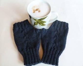Blue Wool Fingerless Gloves Mittens - Women Cable Hand Knitted Hand Warmers - Knit Fingerless Wool Alpaca Wrist Warmers - Clickclackknits
