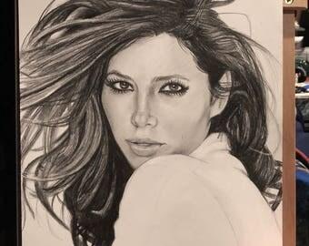 Original Sketch of Jessica Biel (NOT a print)