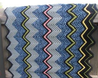 """Lap Sized Afghan-Ripple Stitch-41 1/2"""" x 39"""""""