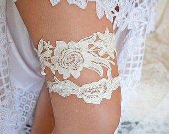 Ivory Bridal Garter, Ivory Lace Garter, Wedding Gift Ivory, Garter Set, Bridal Garters, Garter For Wedding, Handmade Garter, Flower Garter