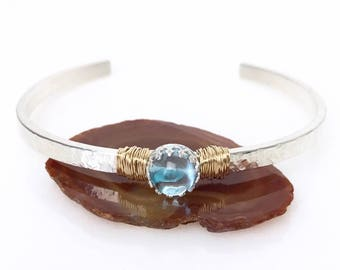 Sky Blue Topaz Bracelet / November Birthstone Jewelry Gift for Her / Gemstone Cuff Bracelet / Mixed Metals Bracelet December Gift for Mom