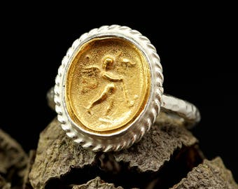 Coin Ring, 925 Sterling Silver Signet Ring, Ancient Roman Art Handcrafted Hammered Byzantium, Greek 24K Yellow Gold Vermeil Hand Forged Ring