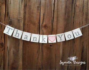 Thank you heart banner - Thank you banner - photo prop - wedding decoration- Light pink coral heart- lower case letters - romantic - IATY132
