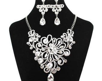 SALE SALE Bridal Statement Necklace, Crystal Bridal Necklace Set, Crystal Wedding Necklace, Evening Necklace ~ E 152