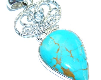 Turquoise, Blue Topaz Sterling Silver Pendant - weight 10.90g - dim L- 2 1 2, W - 7 8, T- 3 16 inch - code 11-lip-17-3