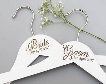 Wedding Day Hangers - Bridal Hangers - Bridesmaid Gift - Personalised Hanger - Bridal Party Gift - Wedding Dress Hanger