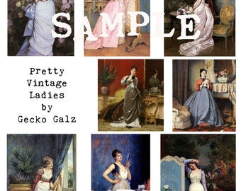 Pretty Vintage Ladies Digital Collage Sheet