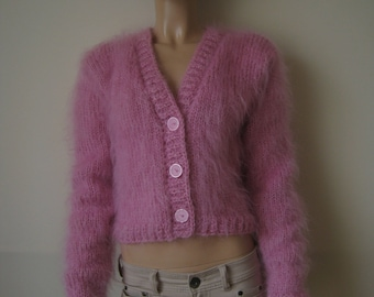 Made to order ! Hand Knitted mohair shrug bolero sweater cardigan size M PINK