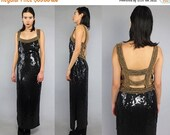 40OFF Vtg 90s Black Gold Sequin Beaded Cage Cut Out Gown Maxi Dress M