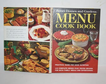 "Vintage Mid-Century 1972 ""Better Homes and Gardens Menu Cookbook""!  Hardcover!  Filled w/ Recipes + Color Photos!"