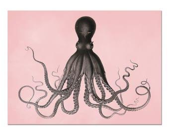 Octopus Art in Millennium Pink and Dark Chocolate, Retro Mod Wall Art, Coastal Decor, Kraken Print, Octopus Poster, Beach Home Decor