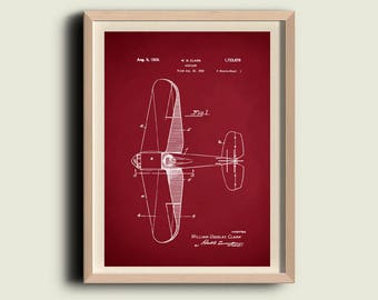 Airplane Print  Vintage Aeroplane - Aeroplane Art  Antique Aircraft Poster - Boys Room Aviation Decor- Aeroplane Patent Wall Art Poster