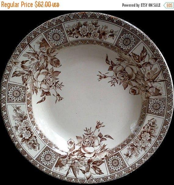 Antique Aesthetic Movement Soup Plate Shallow Bowl Brown Transferware Garfield Wallis Gimson Potteries 1885