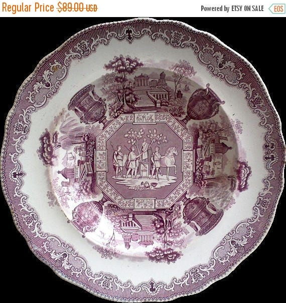 "SALE Antique Spode China Purple/Mulberry Transferware Large Bowl ""Antiques"""