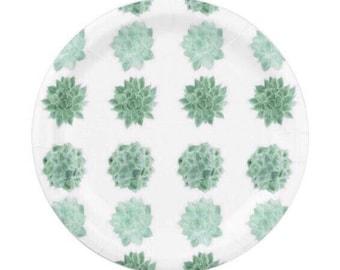 Cactus Paper Plates, succulent plates, cactus paper plate, succulent plate, cactus party decor, green paper plates, succulent paper
