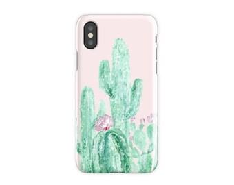 Pink Cactus iPhone X Case, iPhone X case, cactus iPhone case, pink iPhone case, blush pink case, pink cactus case