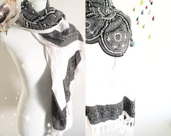 Black and white shawl- embroidered parts in silver on it