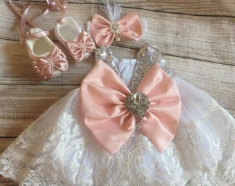 Peach baby girl's pageant dress