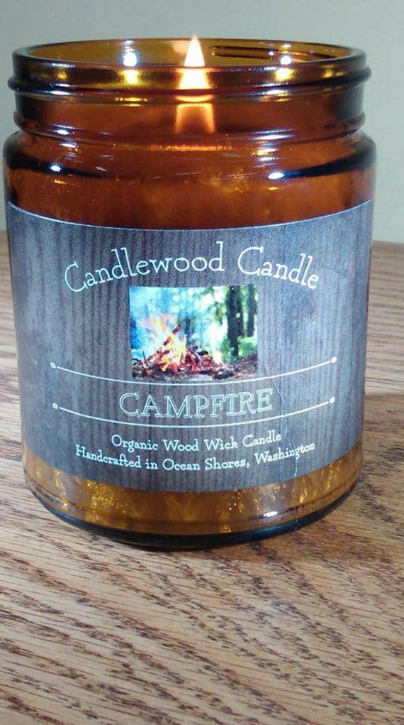 CAMPFIRE - New Smokey Organic Campfire Candle 9 oz  Amber Jar - Free Shipping in USA