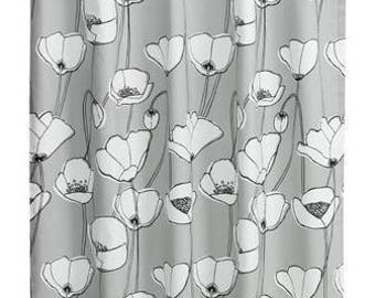 Curtain panel beige grey white black flowers Floral Modern Decor Cafe curtain Kitchen valance , runner , napkins available, great GIFT