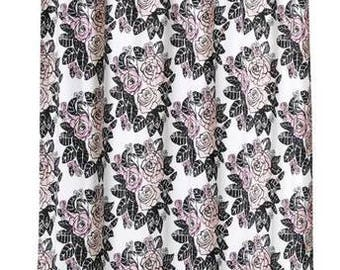 Curtain panel white pink black roses Floral Scandinavian Modern Decor Cafe curtain Kitchen valance , runner , napkins available,great GIFT