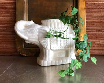 vintage white ceramic elephant vase planter wicker look