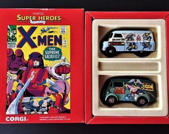 Vintage Corgi Toys Limited Edition X-MEN Marvel Super Heroes Morrris & Bedford  Vans Diecast Models Set 1 of 5000