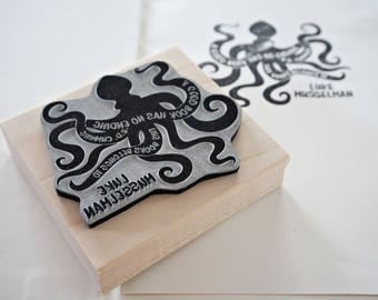 Octopus Bookplate Stamp –Personalized Gift