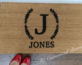 Customized Coir Doormat with Laurel Leaves, Coir Doormat,  Handpainted Doormat, Doormat, Custom Doormat, custom Mat, Custom Rug, Monogram