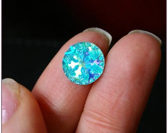 Cabochon 12mm sky blue star spangled x 1