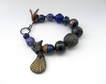Envelopment - rustic dark blue mixed media bracelet; unique artisan navy, royal blue and gold, earthy grungy primitive assemblage bracelet