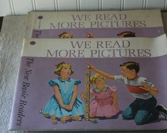"""Teacher's Ed. & Student Workbook 1962 """"We Read More Pictures"""" New Basic Readers, Two Books"""