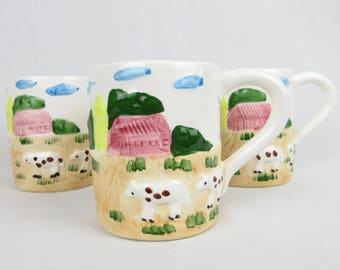 Vintage Dairy Farm Mugs / Artisan -- Hand Painted Ceramic / Set of Three / Cow Country Chic / Gift for Farmer