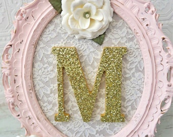 Nursery Letter M Baby Girl Nursery Letters Pink and Gold Wall Letters Shabby Chic Nursery Decor