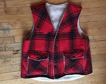 Vintage Lumberjack Red and Black Plaid Fleece Vest