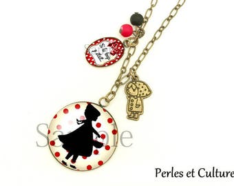 Red Riding Hood ღ necklace if the Wolf was here... Dots ღ ღnoeud beads red black beige ღ ღ