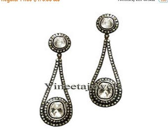 ON SALE 10% OFF Dangling Vintage Inspi.Sterling Silver 2.80Ct. Rose/Anti. Cut Diamond Earrings