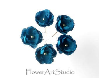 Five small hair flowers, Turquoise flower hair pins, Wedding flowers, Bridal flower hair pins, Hair accessories, Blue small fabric flowers
