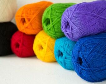 Pure wool yarn for knitting, rainbow colors set of 9 balls, Creative Spirit