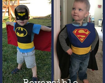 Superman/Batman Superhero Reversible Cape for Kids
