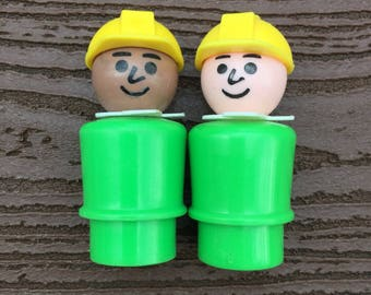 Vintage Fisher-Price Little People Offshore Cargo Base Construction Worker Lot of 2