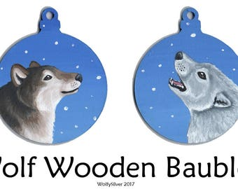 Wolf Wooden Baubles - Hand painted in Acrylics - Timber Wolf, Grey Wolf, White Wolf, Howling, Snow Scene, Festive