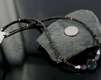 330 Retail Tag Authentic Charlene Little Navajo .925 Sterling Silver Graduated Heishi Amethyst Native American Necklace Native-Bay 18108-39