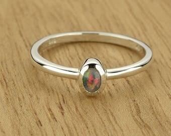0.16ct Semi-Black Opal Ring in 925 Sterling Silver Size 8.5 SKU: 1979B003-925
