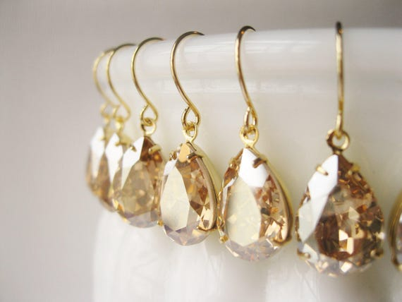 SET of 10 pairs Champagne Gold Bridesmaid Earrings Vintage Style Teardrop Champagne Wedding Swarovski Elements Golden Shadow New Years Eve