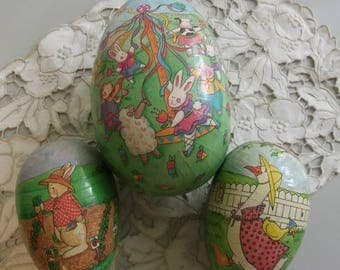 German Paper Mache Easter Egg Boxes