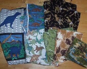Dinosaur Fabric Lot - Dinosaur Quilt Fabric - Dinosaur Blanket Fabric - T-Rex Stegosaurus Triceratops Velociraptor Brontosaurus - Material