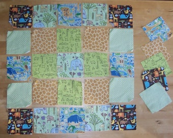 "Zoo Animal Fabric Squares 5"" - Animal Patchwork Quilt Squares- Monkey Giraffe Baby Blanket Fabric - Zoo Safari Jungle Baby Quilt Fabric"